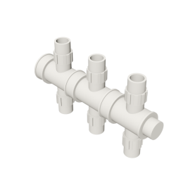 Valsir Pexal EASY 3-way cross modular manifold hot water