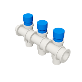 Valsir Pexal EASY 3-way modular manifold with cap cold water