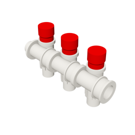 Valsir Pexal EASY 3-way modular manifold with cap hot water