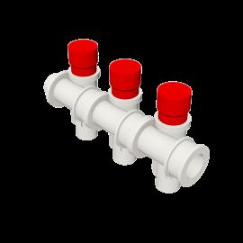 Valsir Pexal EASY 3-way modular manifold with cap hot water