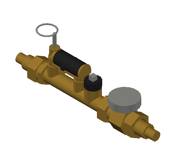SA_Balancing_valve_with_flow_meter-MEPContent_Caleffi-132AFC-DN15-DN25_.75 in. PEX Crimp with temp. gauge - 0.5-1.75 GPM_US-EN.dwg