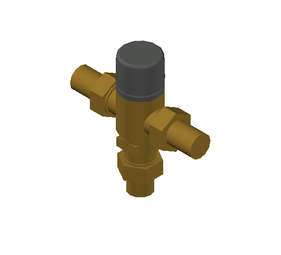 SA_Adjustable_Three-way_Thermostatic_Mixing_Valve_MEPContent_Caleffi-521A_DN15-DN25_.75 in. NPT With inlets check valves_US-EN.dwg