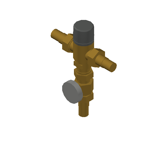 SA_Adjustable_Three-way_Thermostatic_Mixing_Valve_MEPContent_Caleffi-521A_DN15-DN25_.75 in. PEX Expansion  with integrated outlet temperature gauge_US-EN.dwg