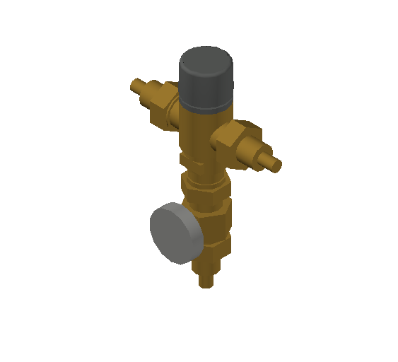 SA_Adjustable_Three-way_Thermostatic_Mixing_Valve_MEPContent_Caleffi-521A_DN15-DN25_.5 PEX Crimp with integrated outlet temperature gauge_US-EN.dwg