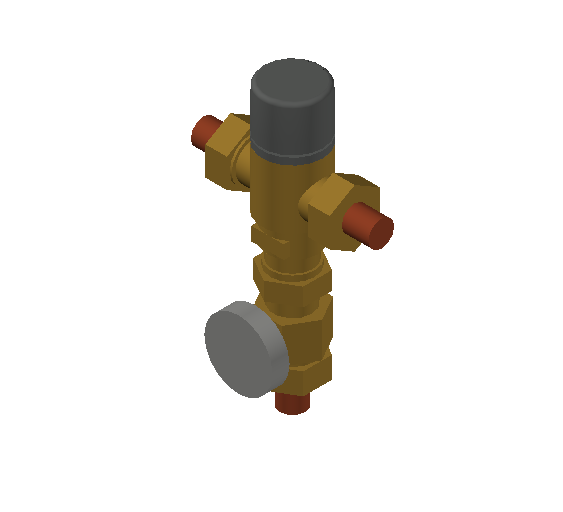 SA_Adjustable_Three-way_Thermostatic_Mixing_Valve_MEPContent_Caleffi-521A_DN15-DN25_.5 in. Press with integrated outlet temperature gauge_US-EN.dwg