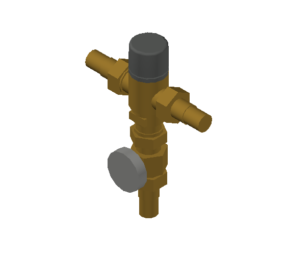 SA_Adjustable_Three-way_Thermostatic_Mixing_Valve_MEPContent_Caleffi-521A_DN15-DN25_.75 in. PEX Expansion  with integrated outlet temperature gauge and inlets ports check valves_US-EN.dwg