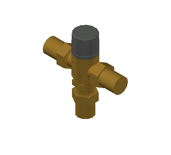 SA_Adjustable_Three-way_Thermostatic_Mixing_Valve_MEPContent_Caleffi-521A_DN15-DN25_1 in. NPT With inlets check valves_US-EN.dwg