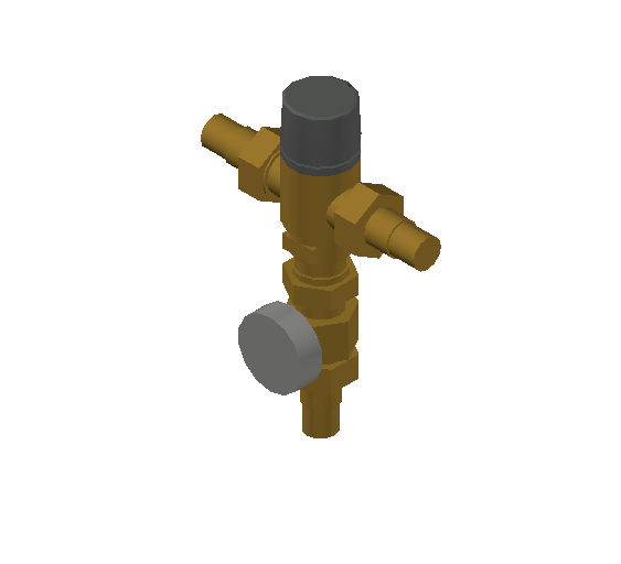 SA_Adjustable_Three-way_Thermostatic_Mixing_Valve_MEPContent_Caleffi-521A_DN15-DN25_1 in. PEX Crimp with integrated outlet temperature gauge_US-EN.dwg