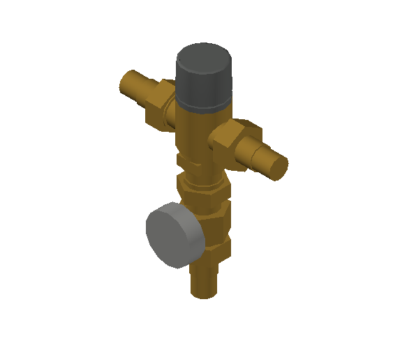 SA_Adjustable_Three-way_Thermostatic_Mixing_Valve_MEPContent_Caleffi-521A_DN15-DN25_1 in. PEX Crimp with integrated outlet temperature gauge and inlets ports check valves_US-EN.dwg