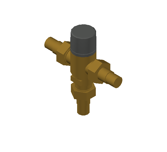 SA_Adjustable_Three-way_Thermostatic_Mixing_Valve_MEPContent_Caleffi-521A_DN15-DN25_1 in. PEX Crimp With inlets check valves_US-EN.dwg