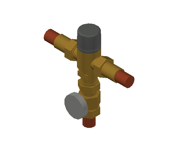 SA_Adjustable_Three-way_Thermostatic_Mixing_Valve_MEPContent_Caleffi-521A_DN15-DN25_.75 in. Press with integrated outlet temperature gauge and inlets ports check valves_US-EN.dwg