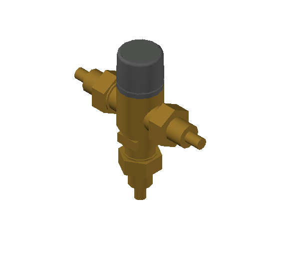 SA_Adjustable_Three-way_Thermostatic_Mixing_Valve_MEPContent_Caleffi-521A_DN15-DN25_.5 in. PEX Crimp With inlets check valves_US-EN.dwg