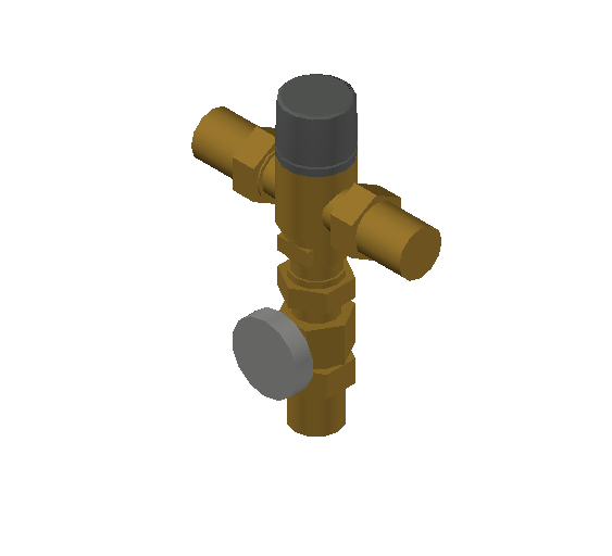 SA_Adjustable_Three-way_Thermostatic_Mixing_Valve_MEPContent_Caleffi-521A_DN15-DN25_1 in. NPT with integrated outlet temperature gauge and inlets ports check valves_US-EN.dwg