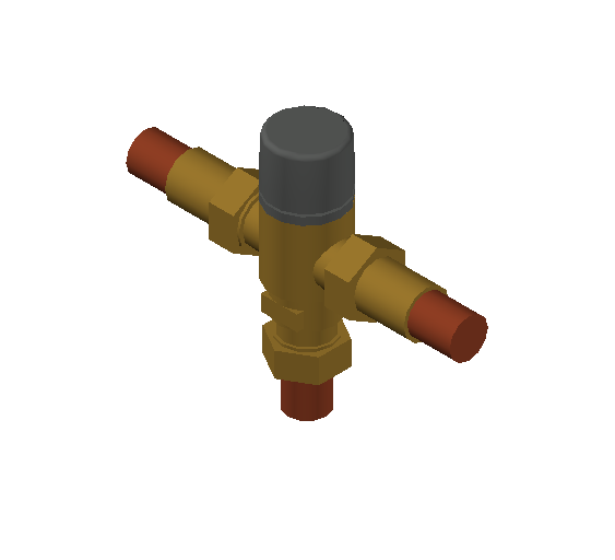 SA_Adjustable_Three-way_Thermostatic_Mixing_Valve_MEPContent_Caleffi-521A_DN15-DN25_.75 in. Press With inlets check valves_US-EN.dwg