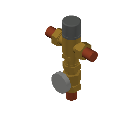 SA_Adjustable_Three-way_Thermostatic_Mixing_Valve_MEPContent_Caleffi-521A_DN15-DN25_.75 in. Press  with integrated outlet temperature gauge_US-EN.dwg