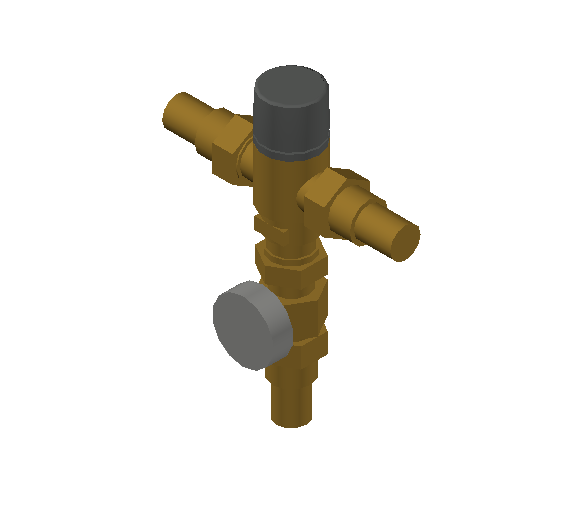 SA_Adjustable_Three-way_Thermostatic_Mixing_Valve_MEPContent_Caleffi-521A_DN15-DN25_1 in. PEX Expansion with integrated outlet temperature gauge and inlets ports check valves_US-EN.dwg