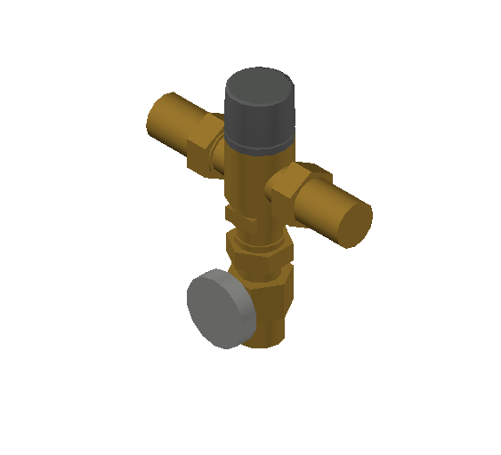 SA_Adjustable_Three-way_Thermostatic_Mixing_Valve_MEPContent_Caleffi-521A_DN15-DN25_1 in. SWT with integrated outlet temperature gauge and inlets ports check valves_US-EN.dwg