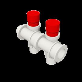 Valsir Pexal EASY 2-way modular manifold with cap hot water