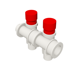 Valsir Pexal EASY 2-way modular manifold with cap hot water