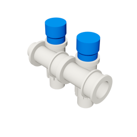 Valsir Pexal EASY 2-way modular manifold with cap cold water
