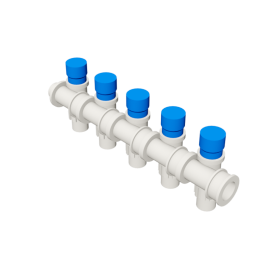 Valsir Pexal EASY 5-way modular manifold with cap cold water